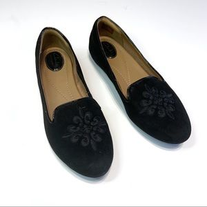 Clarks artisan black suede embroidered loafers